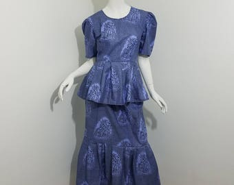 Peplum top and Mermaid skirt African Print set- Blue with fruit print  (size: US 8)