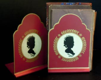 Vintage Red and Gold Tole Bookends / Laurel Wreath Bookends / Made in England / Hollywood Regency Bookends