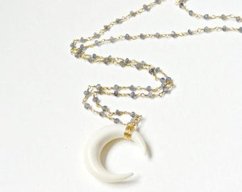 SALE - Sideways Double Horn Necklace, Crescent Moon Necklace, Carved Bone Necklace, Gemstone Beaded Chain Necklace, Gold or Silver Jewelry