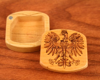 Polish Wooden Box, Solid Cherry, Pattern MS59 Polish Eagle, Paul Szewc, Masterpiece Laser