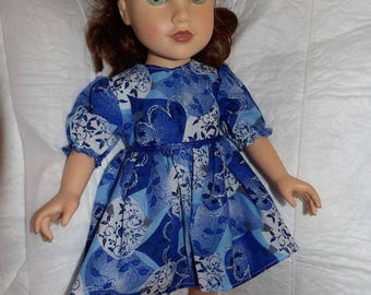 Modest blue, white & silver geometric bell print dress for 18 inch dolls - ag297