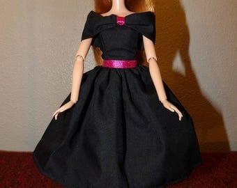 Dressy off the shoulder shall collar black dress for Fashion Dolls - ed1039
