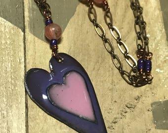 Sale! Kiln fired Enamel HEART Necklace Pink on purple