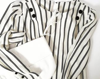 VTG Black and White Striped Shift Dress FREE SHIPPING