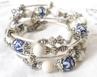 delft blue memory wire bracelet delft blue jewelry delft bracelet multiple strand bracelet blue and white bracelet blue bracelet
