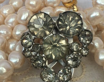 Large Rhinestone Dress Clip Heart Shape Vintage