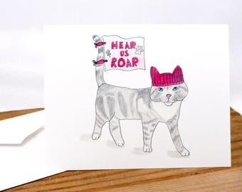 Pussy cat in a pussyhat art card, hear us roar, protest, womens resistance, pink kitty hat, woman march art print, resist, persist, break up