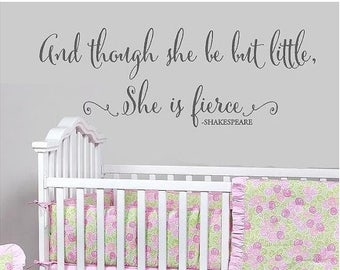 20% OFF And thought she be but little - Shakesspeare-children girls Vinyl decal Lettering  nursery wall  art words  decals Bedroom itswritte
