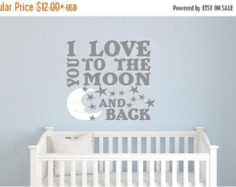 20% OFF I love you to the moon and back-Vinyl Lettering wall  decal words graphics Home decor itswritteninvinyl