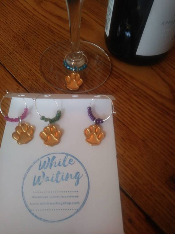 Wine glass charms-  paw print colors set of 4/ pets/ animals/ bear paw