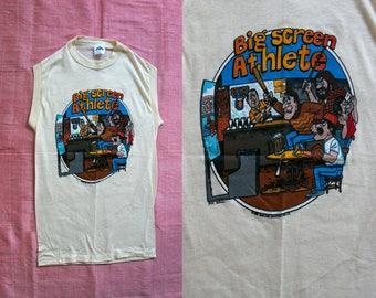 Vintage 1980's Big Screen Athlete Sports Tank Top, Unisex Adults, Kitsch Sports, Screenprinted Tee, Cotton