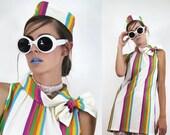 MEMORIAL SALE Vintage 60's Mod Shift BOW Dress + Headband / Candy Stripe // Vintage Dresses TatiTati Style on Etsy