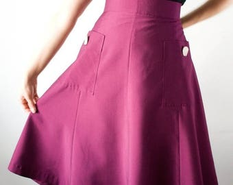 SUMMER SALE SALE 40s style midi skirt with large pockets, A-line in purple, size Us 10 / Swing skirt / Lindy hop skirt /