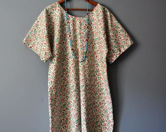 Calico Kangaroo Print Tunic Dress/Upcycled Vintage Print Dress