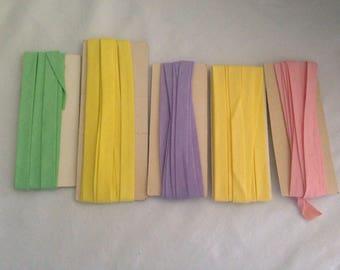 "Various Pastel multi-color 5 pack Single Fold BIAS TAPE  1/2"" 4-1 yards"