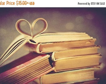 Still Life Photography, Vintage book love Fine Art Photography pages folded in heart shape friendship art print Bibliophile Wall art