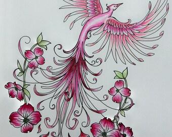 Kim's Custom Pink Phoenix Original Art