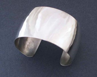 Domed Sterling Silver Cuff Bracelet Hammered Silver Convex Cuff Modern Jewelry 25th Anniversary Gift Silver Anniversary