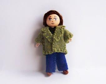 Moody Boy 2.5 inch tiny pocket bendy doll, dollhouse doll, miniature doll, ooak doll, handmade doll, hand-painted doll, sad