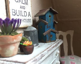 Dollhouse Miniature- Small 3 story Birdhouse- Blue