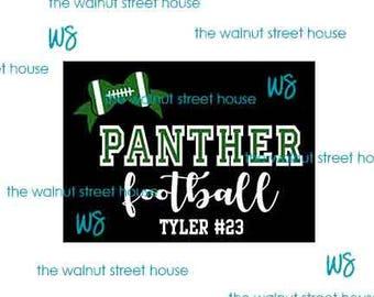 ORIGINAL DESIGN, football shirt, custom football tee, personalized football tee, football shirt, panther football, mustang, bulldog, etc