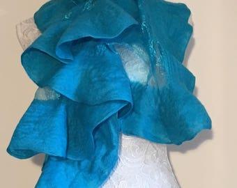 Shimmery turquoise nuno felted shawl Shawl