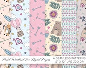 valentines day wrapping paper digital, Woodland Animals, Repeat Pattern Paper, Instant Download, Bear Bunny Fox, Seamless, Commercial Use