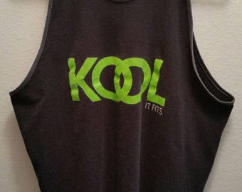 Vintage KOOL It Fits Shirt Tank Top Cigarettes Tobacciana Collectible Belton Brand Tee Marked Size XL Extra Large Made in USA Sleeveless Top