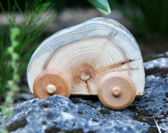 center - ONE natural wood car made from cedar