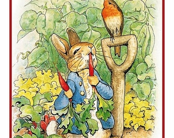 GREAT SALE Peter Digs in the Garden by Beatrix Potter Counted Cross Stitch Chart / Pattern / Graph FREE Shipping