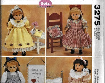 McCall's 3275 OOP 18 inch Girl Doll Clothes Pattern American Country Ruffles