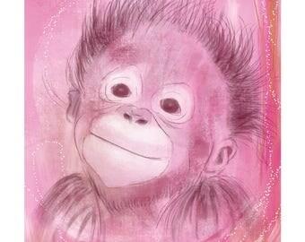 12x16 Inch Nursery Print - Monkey, Pink