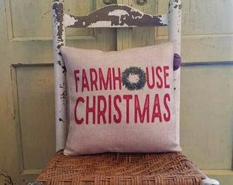 Farmhouse Christmas, Farmhouse decor, Boxwood wreath, Farmhouse Christmas pillow