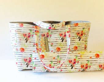 MADE TO ORDER Floral Stripe Diaper Bag set, waterproof lining, changing pad or diaper clutch option