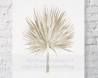 Fan Palm Watercolor in Natural Taupe 11x14 - Leaf Watercolor  Print - Tropical Wall Art - Fan Palm Wall Art Decor