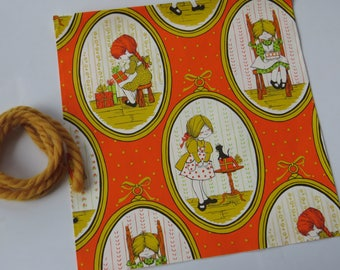 Vintage 70's Gift Wrap & Gold Yarn Tie ~ Any Occasion  ~ Orange green Gold ~ Little Girls ~ Frames