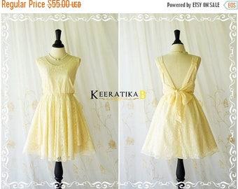 Flash SALE Pale yellow dress butter lace dress yellow party dress yellow prom dress cocktail dress yellow bridesmaid dresses lace bridesmaid