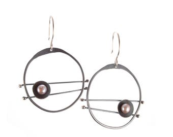 Oxidized Evil Eye Earrings