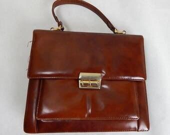 Vintage 1960s Brown Faux Leather Satchel Bag