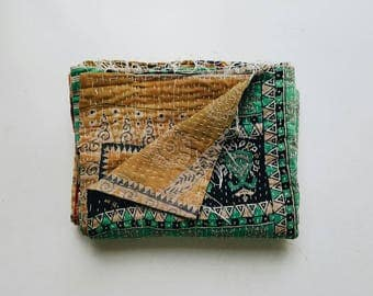Vintage Kantha Quilt - Mustard Yellow and Turquoise Bohemian Bedspread - Boho Home Decor