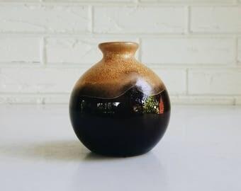 Small Vintage Mustard Pottery Ceramic Vase - Earthy Modern Minimal Decor