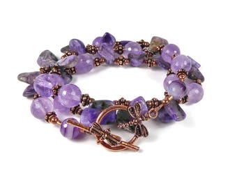 Convertible Amethyst Bracelet, Convertible Necklace, Wrap Bracelet Necklace, Purple Amethyst, Charoite, Agate Layering Necklace