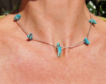 Boho Native American Turquoise Silver Choker Necklace