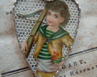 Fiona & The Fig - Antique Victorian - Beautiful Young Boy - Soldered Charm - Necklace - Pendant-Jewelry