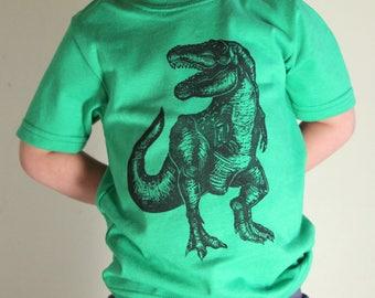 Trex Kids T-shirt 2T 4T 6T Green Dinosaur Tshirt hand printed original art realisitic dinosaur kids tee trex kids shirt hipster kid fashion