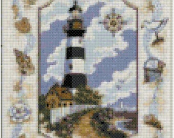A Sea Side Light House Cross Stitch Pattern