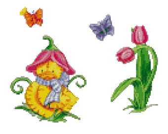 A Springtime Duckling Cross Stitch Pattern