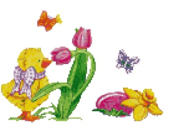 An Easter Duckling Cross Stitch Pattern