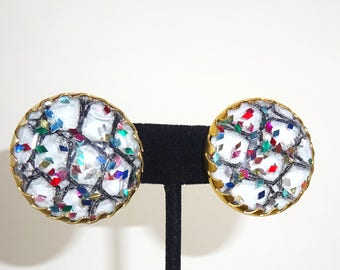 """Vintage Rare Mint in the Box Sarah Coventry Confetti Earrings-""""MARDI-GRAS"""" FROM 1959"""