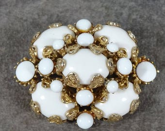 Huge Chunky Rare Hollycraft Milk Glass Brooch Very Rare Gold Plated Setting